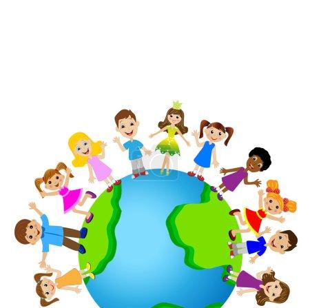 Illustration for Little child on planet earth, vector illustration - Royalty Free Image