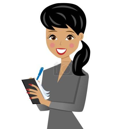 Illustration pour Belle femme d'affaires avec cahier et stylo à la main, illustration vectorielle - image libre de droit