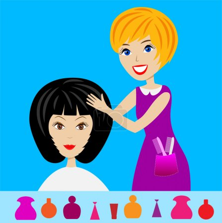 Woman in a beauty salon does a hair-do