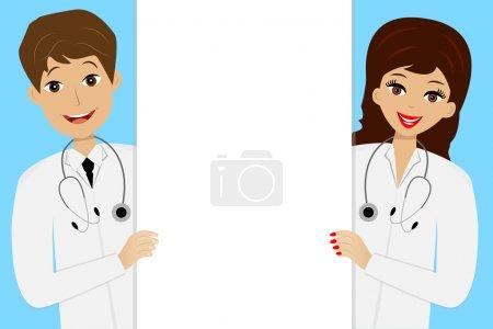 Illustration pour Deux jeunes médecins homme et femme sur fond bleu, illustration vectorielle - image libre de droit