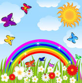 floral glade butterflies and bright rainbow
