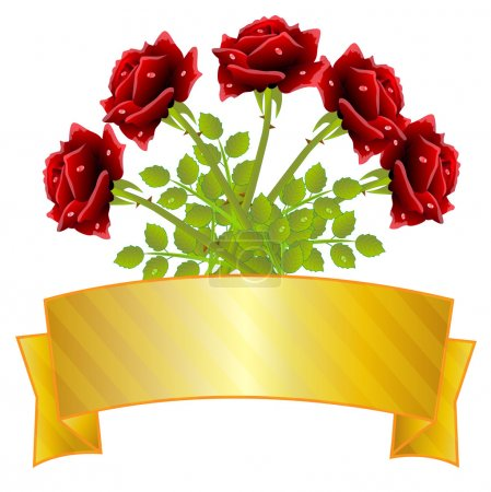 Bouquet of red roses and gold ribbon