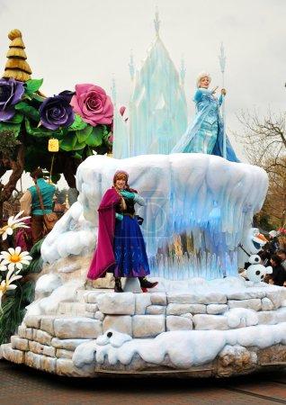 Photo for Cold Heart cartoon characters on parade at Disneyland Paris. - Royalty Free Image