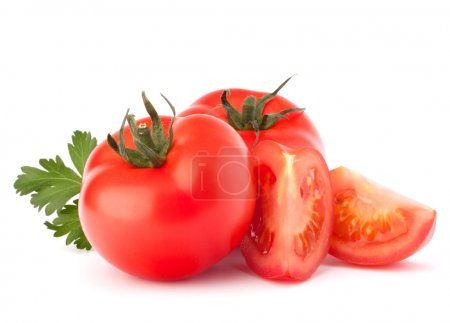 Photo for Tomato vegetables and parsley leaves still life isolated on white background cutout - Royalty Free Image