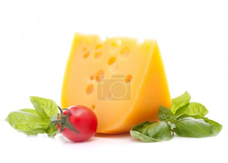 Photo for Cheese and basil leaves still life isolated on white background cutout - Royalty Free Image