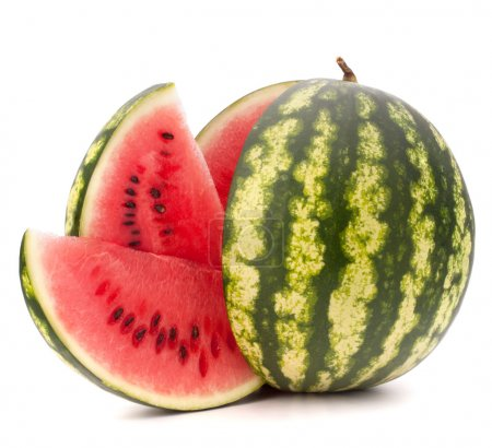 Photo for Sliced ripe watermelon isolated on white background cutout - Royalty Free Image