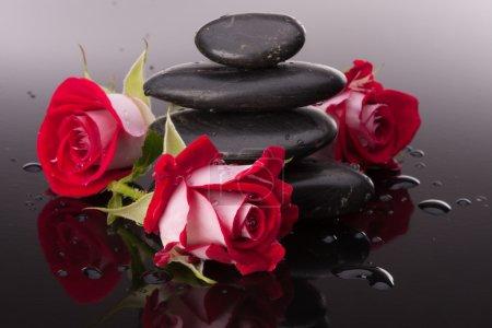 Photo pour Spa pierre et fleurs roses nature morte. Concept de soins de santé . - image libre de droit