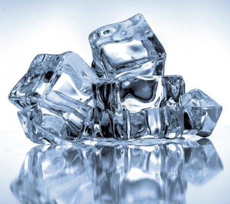 Photo for Ice cubes on blue background - Royalty Free Image