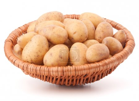 Photo for Potato tuber  in wicker basket isolated on white background - Royalty Free Image