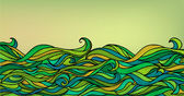 Abstract Waves Background Vector Blue Green Orange Colorful Han