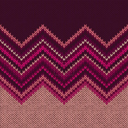Illustration for Knitted Seamless Fabric Pattern, Beautiful Red Pink Knit Texture - Royalty Free Image