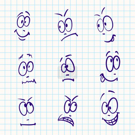 Illustration for Emotion, vector set of nine face on notebook paper - Royalty Free Image