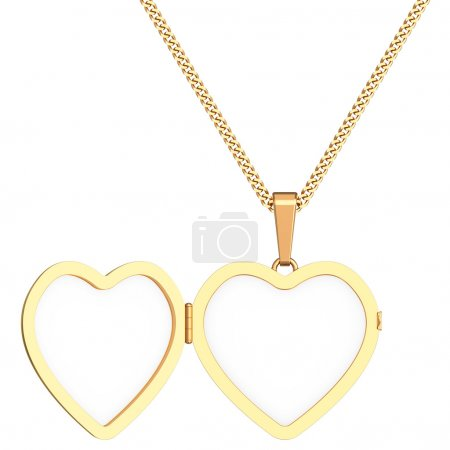 Photo for Gold heart shaped locket on chain isolated on white background. High resolution 3D image - Royalty Free Image