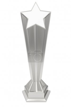 Silver or platinum star prize on pedestal on white