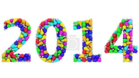 2014 digits composed of colorful lightbulbs isolated on white