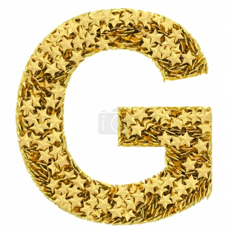Letter G composed of golden stars isolated on white
