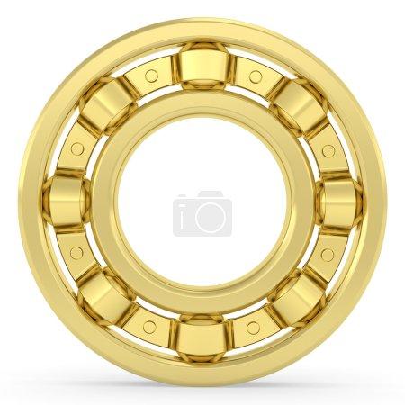 Golden bearing on white background