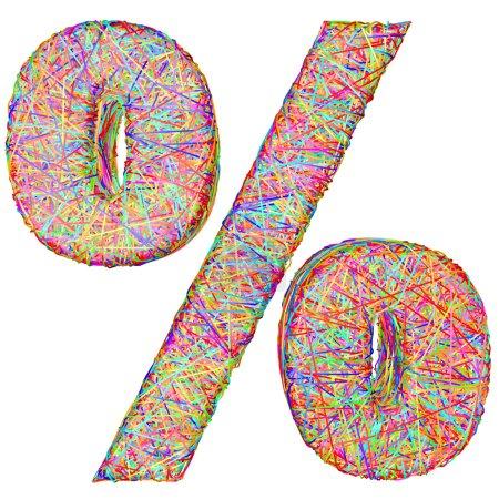 Photo pour Signe en pourcentage composé de bandes colorées isolées sur blanc. Image 3D haute résolution - image libre de droit