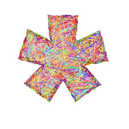 Asterisk or star sign composed of colorful striplines