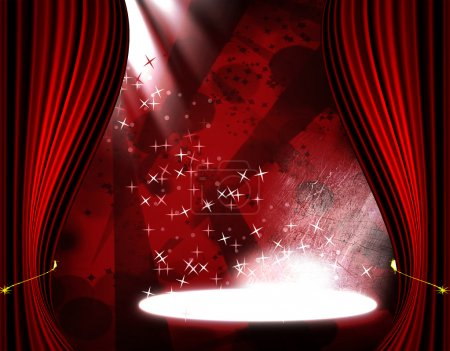 Movie or theatre curtain with some glitters on it