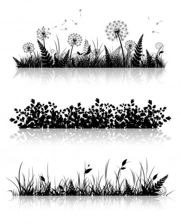 Illustration for Different Grass Banner Silhouette Collection In Black and White - Royalty Free Image