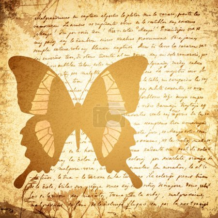 Illustration for Old Letter (18 Century) Vintage Grunge Background With Butterfly - Royalty Free Image