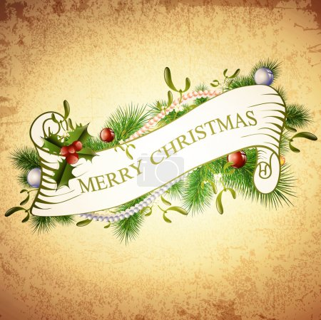 Vintage Merry Christmas Greetings Design