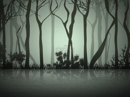 Fog Forest Near Lake