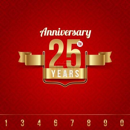 Illustration pour Emblème doré décoratif de l'anniversaire - illustration vectorielle - image libre de droit