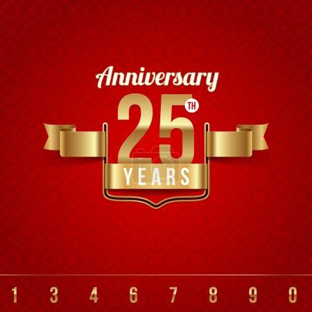 Decorative golden emblem of anniversary - vector illustration