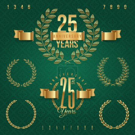 Illustration for Anniversary golden emblems and decorative elements - vector illustration - Royalty Free Image