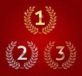 Vector illustration of 1st; 2nd; 3rd awards golden emblems