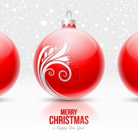 Red Christmas baubles with white decor