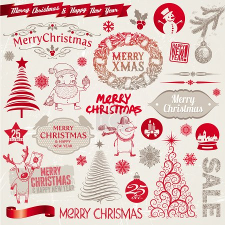 Vector set of Christmas signs, emblems and doodles