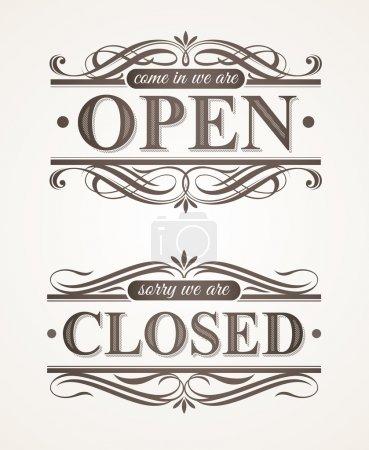 ouvert et fermé - ornés de panneaux rétro