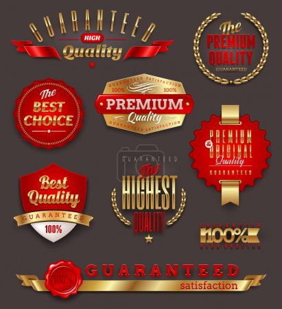 Illustration for Set of premium & quality golden labels, signs and emblems - Royalty Free Image