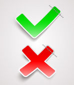 Check mark and cross paper signs - vector illustration