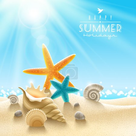 Illustration for Summer holidays illustration - sea inhabitants on a beach sand against a sunny seascape - Royalty Free Image