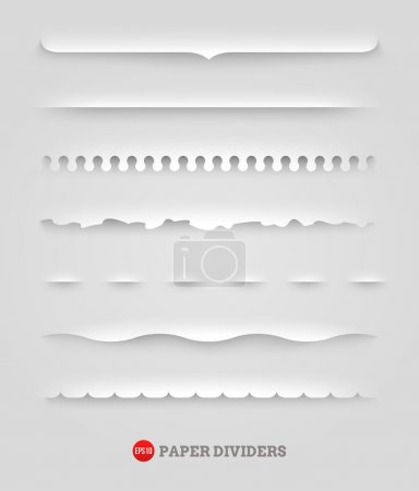 Illustration for Vector set of paper decorative dividers - Royalty Free Image