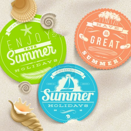 Illustration for Summer vacation and travel labels and sea shells on a beach sand - vector illustration - Royalty Free Image