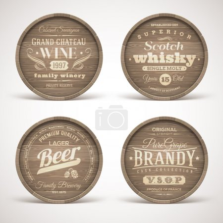 Illustration for Set of wooden casks with alcohol drinks emblems - vector illustration - Royalty Free Image