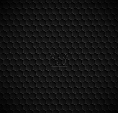 Illustration pour Hexagones vectoriels fond noir sans couture - image libre de droit