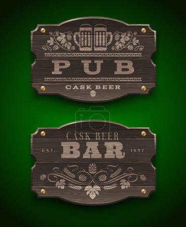 Illustration pour Panneaux en bois vintage pour Pub and Bar - illustration vectorielle - image libre de droit