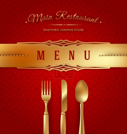 Illustration for Menu cover with golden cutlery and decorative elments - vector illustration - Royalty Free Image