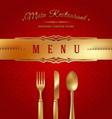 Menu cover with golden cutlery and decorative elments - vector illustration