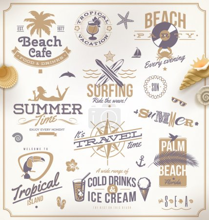 Illustration for Vector set of travel and vacation emblems and symbols - Royalty Free Image