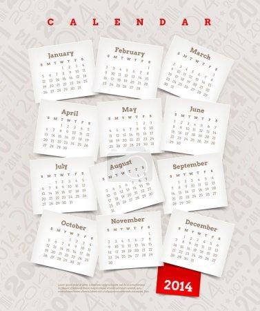 Vector template design - Decorative calendar of 2014