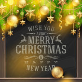 Christmas vector illustration - holidays greetings on a chalkboard and Christmas tree branches with golden decoration and baubles