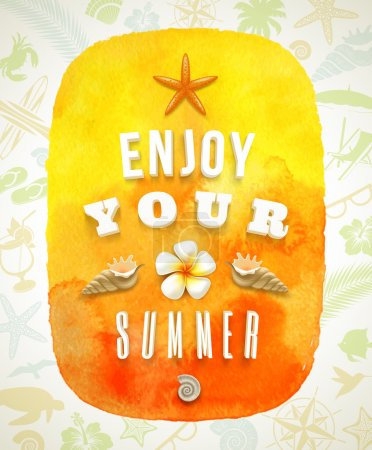 Watercolor banner with summer greeting on a background composed of summer things - vector illustration