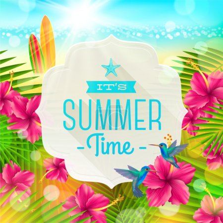 Illustration for Banner with summer greeting, hummingbirds and hibiscus flowers against a  tropical  shore seascape with surfboards  - vector illustration - Royalty Free Image